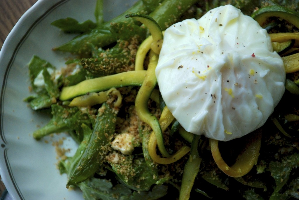 Arugula, sugar snap pea and poached egg salad 1