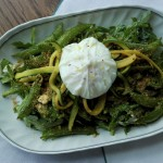 Arugula, Sugar Snap Pea and Poached Egg Salad
