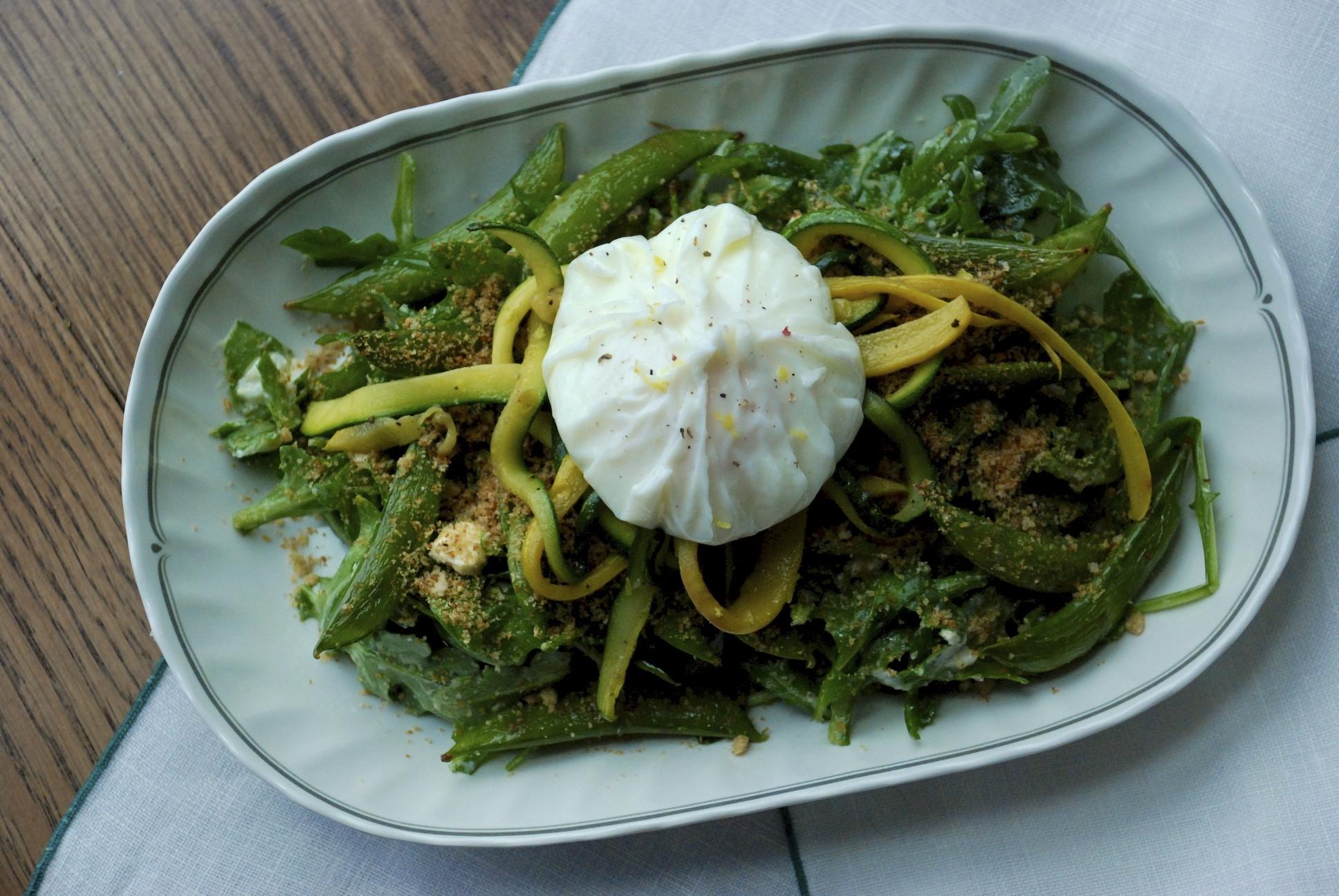 Arugula, Sugar Snap Pea and Poached Egg Salad