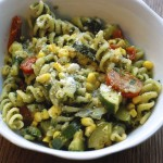 Fusilli with Sweet Corn, Pesto and Summer Vegetables
