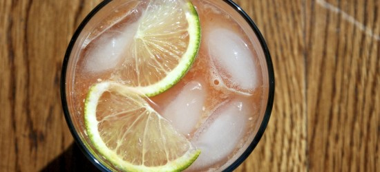 blood orange and ginger cocktail, from above