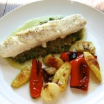 Halibut au Pistou with Shallots, Peppers and Fingerlings