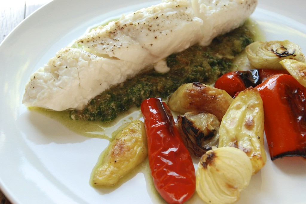 Halibut with pistou and roasted vegetables