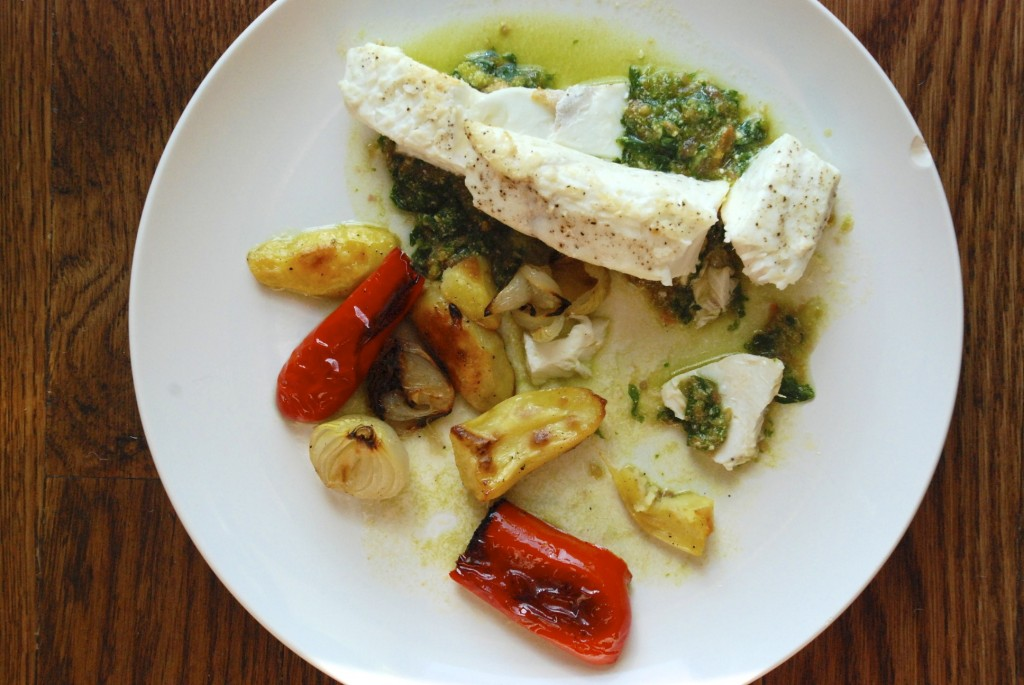 Halibut with pistou and roasted vegetables, from above