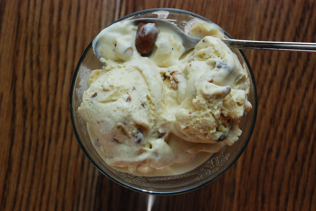 Maple Ice Cream with Tipsy Raisins and Candied Cashews