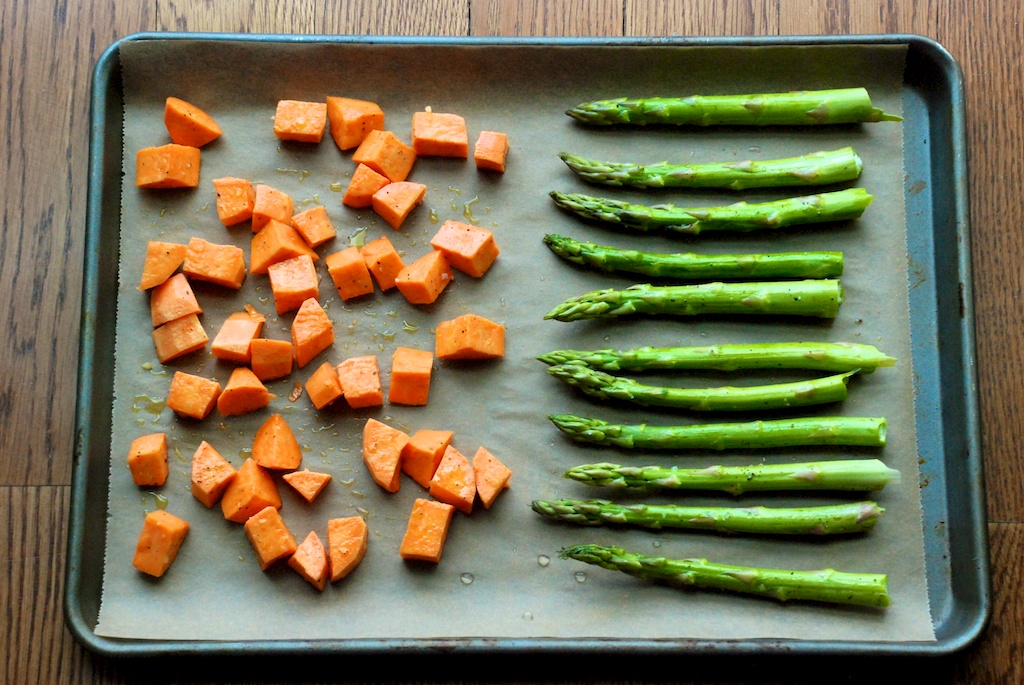 Asparagus and diced sweet potatoes