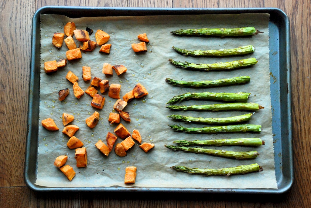 Roasted asparagus and diced sweet potatoes