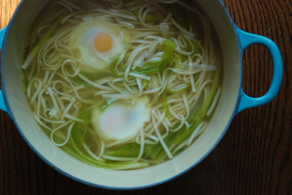 Spring soup in pot
