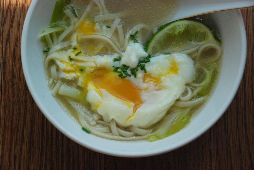 Spring soup cracked egg