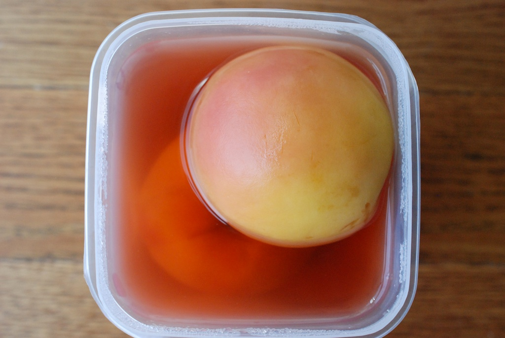 rose poached peaches