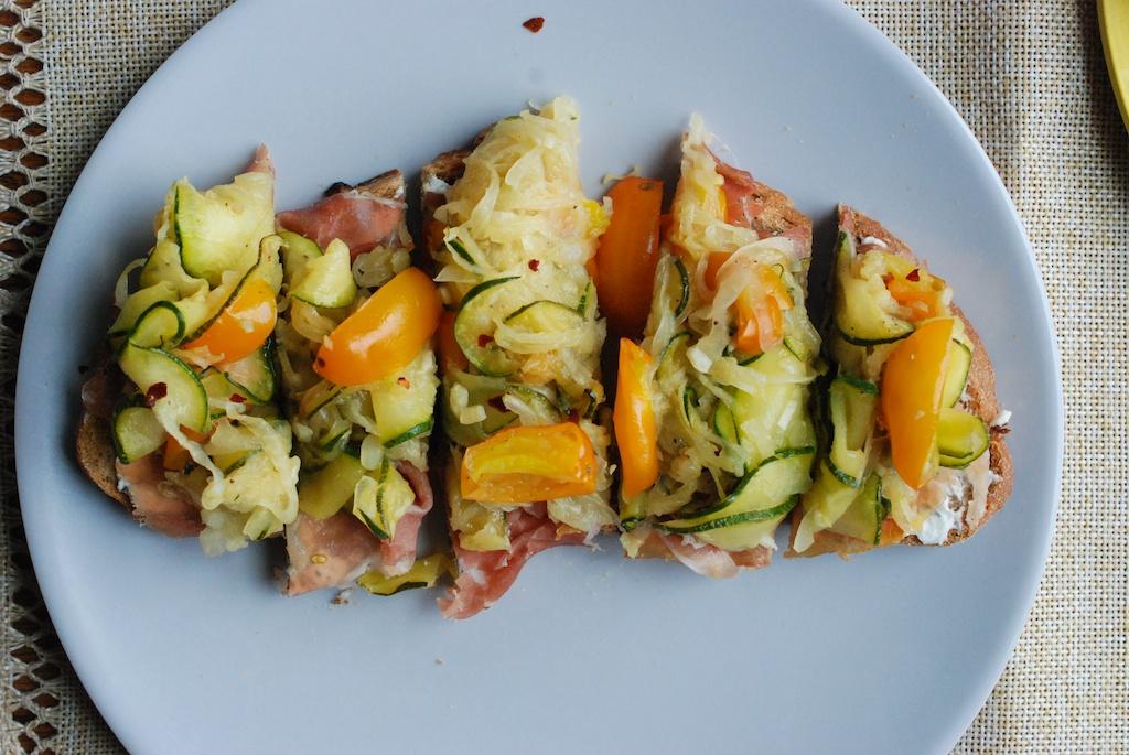 zucchini tartine, matchsticks
