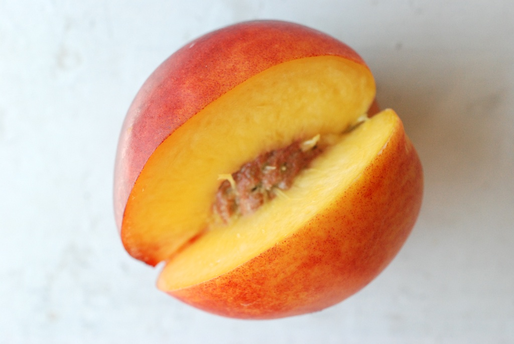 nectarine with slice