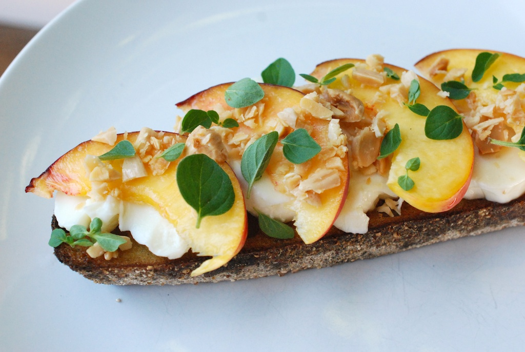 Nectarine toast, side