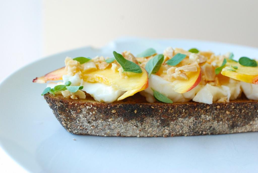 Nectarine toast, bread