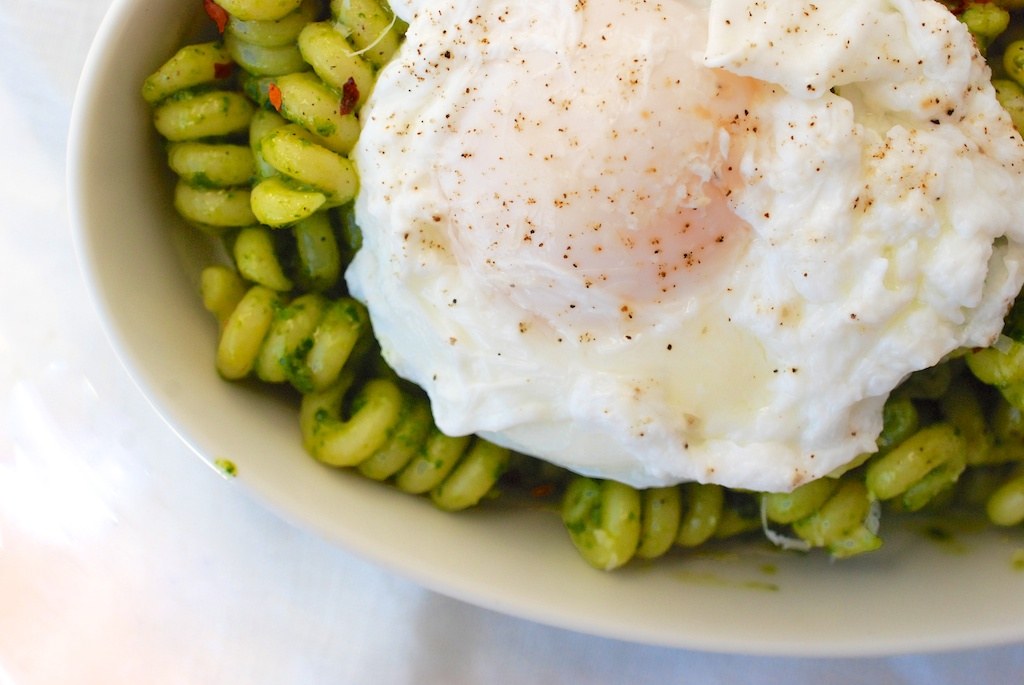 pesto pasta with closed egg