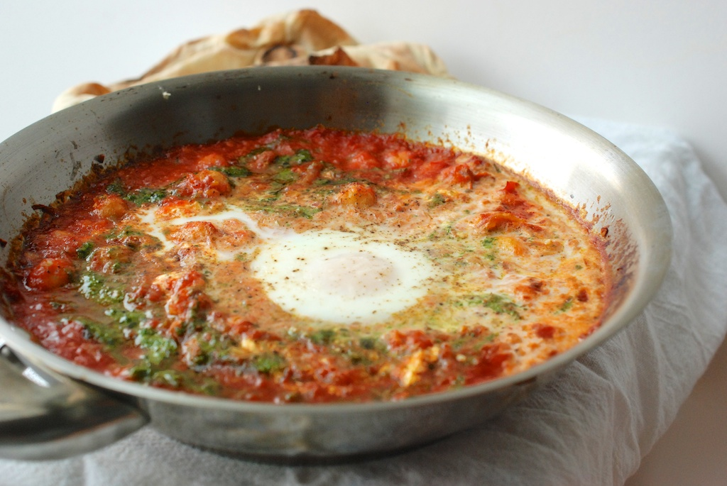 eggs in purgatory, out of the oven