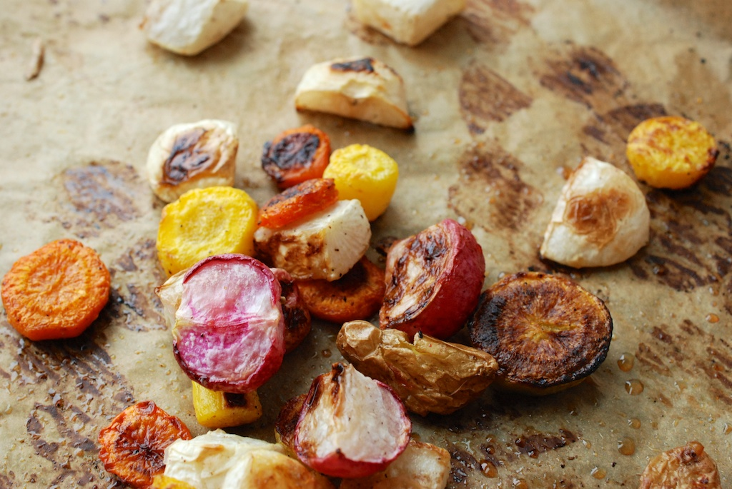 radishes, fingerlings, and carrots; roasted