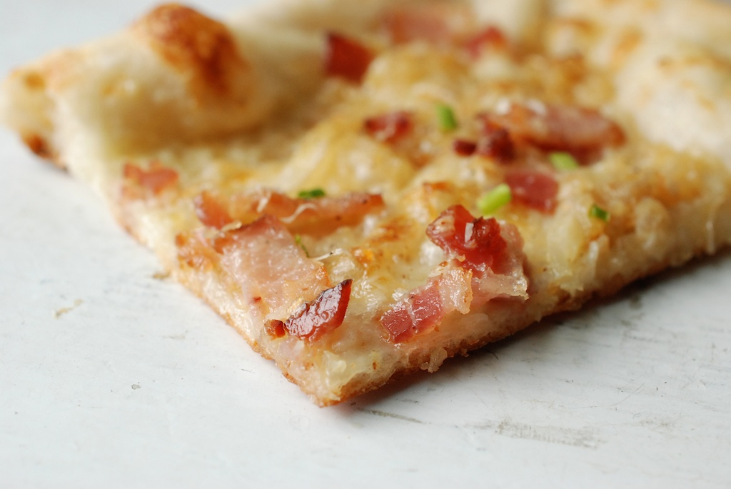 flammkuchen, slice, up close