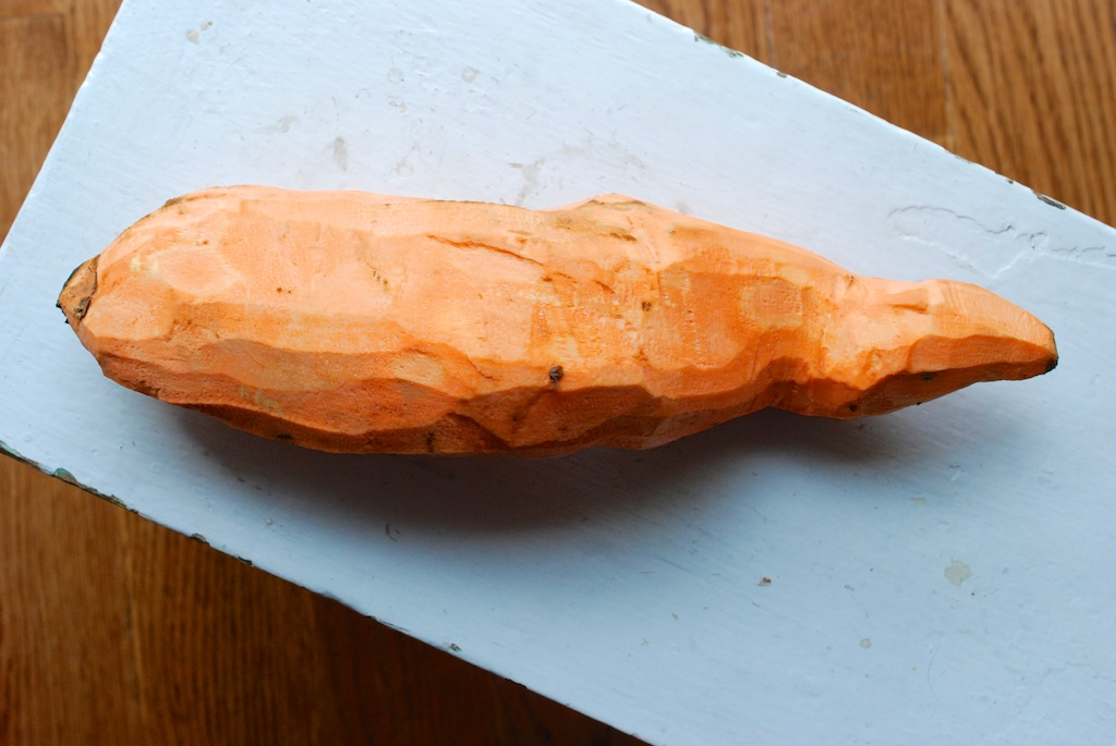 huge sweet potato, peeled