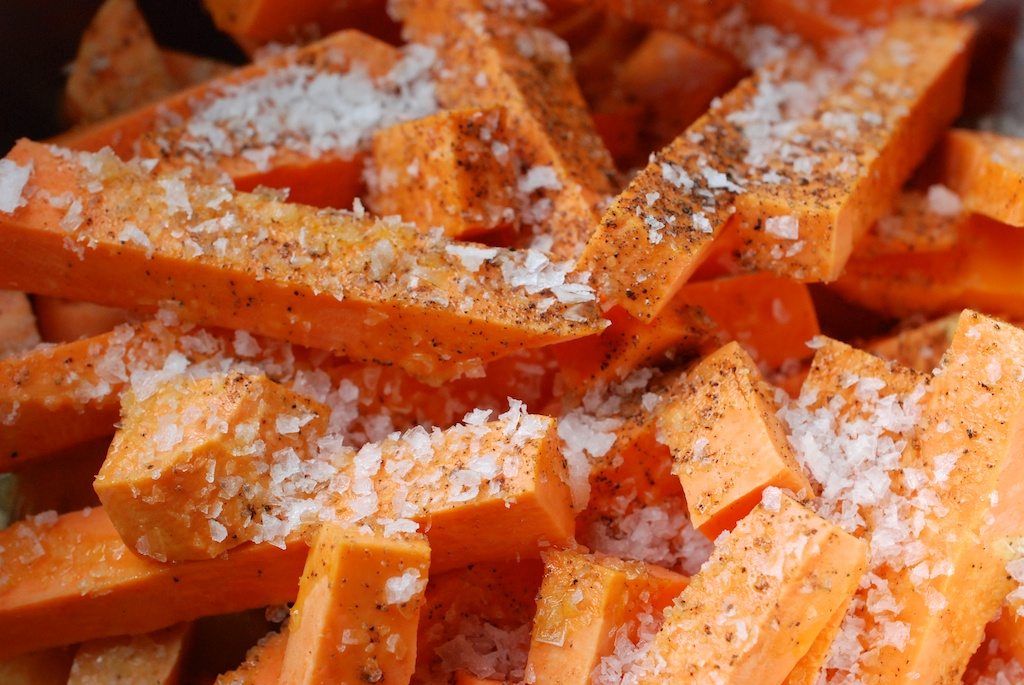 sweet potato fries with salt and pepper