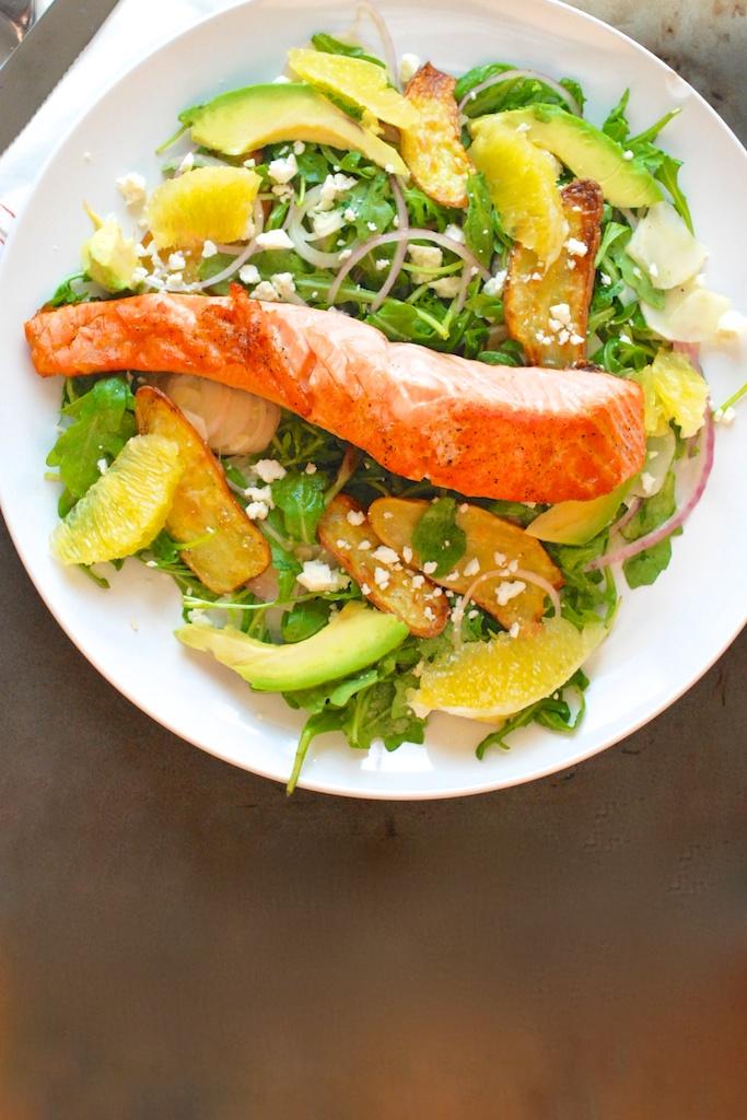 salmon salad, vertical