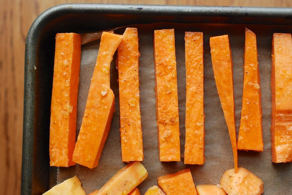 sweet potato fries on baking sheet
