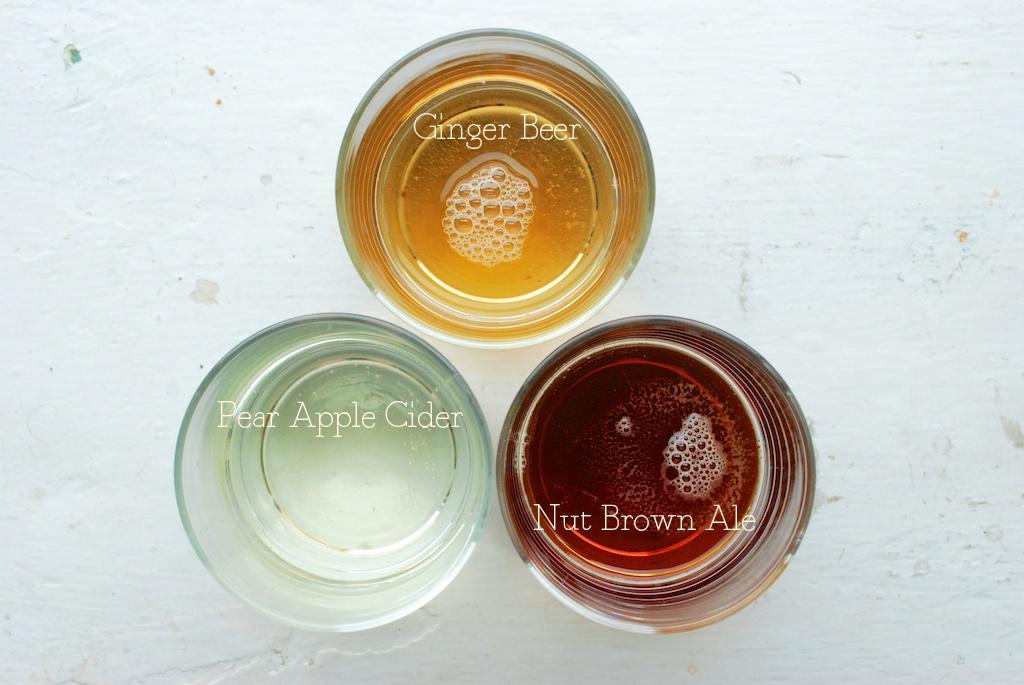 ale, ginger beer, pear apple cider