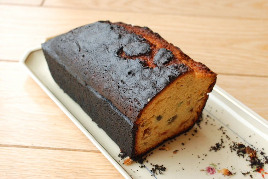 burnt cake, charred side