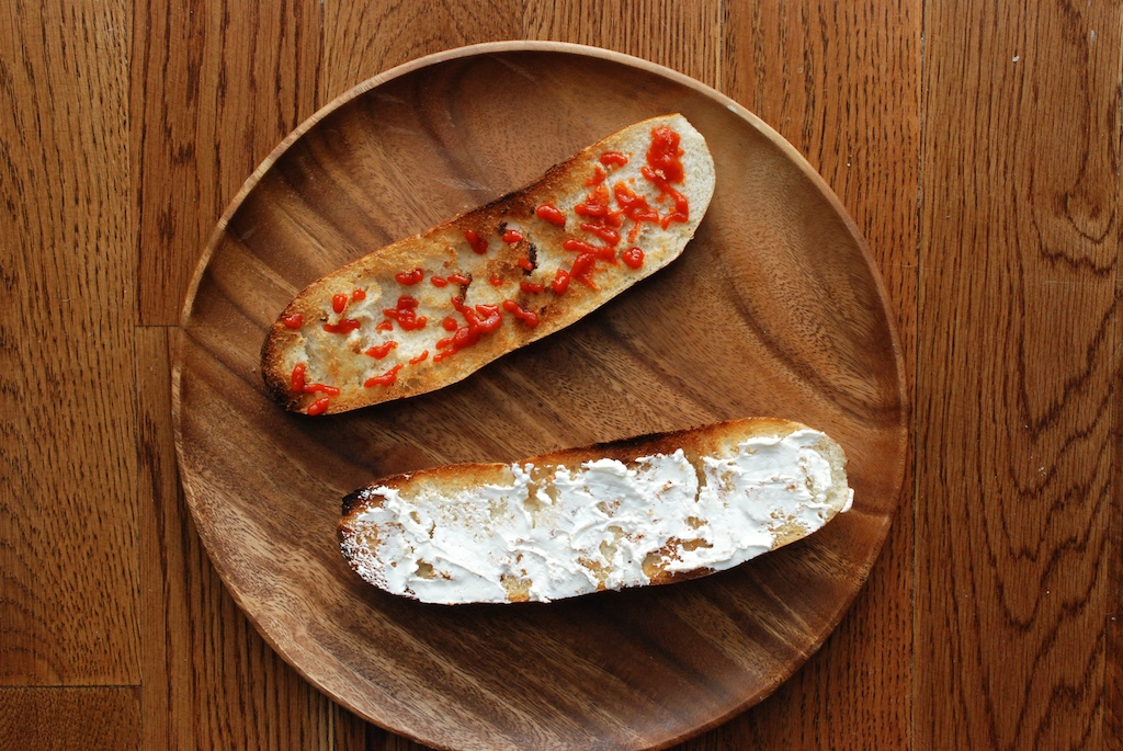sriracha and labneh, on bread