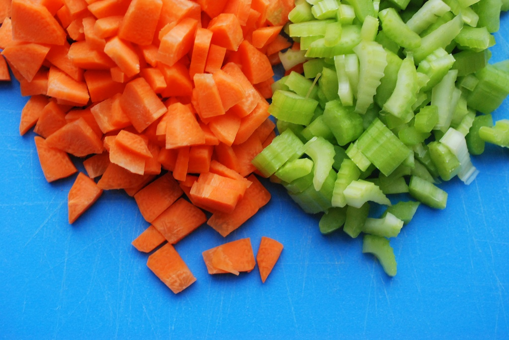 diced carrots and celery