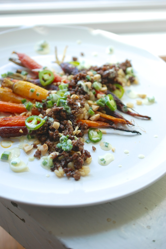 Slow-Roasted Carrots with Lamb and Spring Onion Dressing, vertical