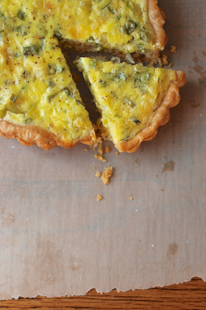 spring onion and herb tart, vertical