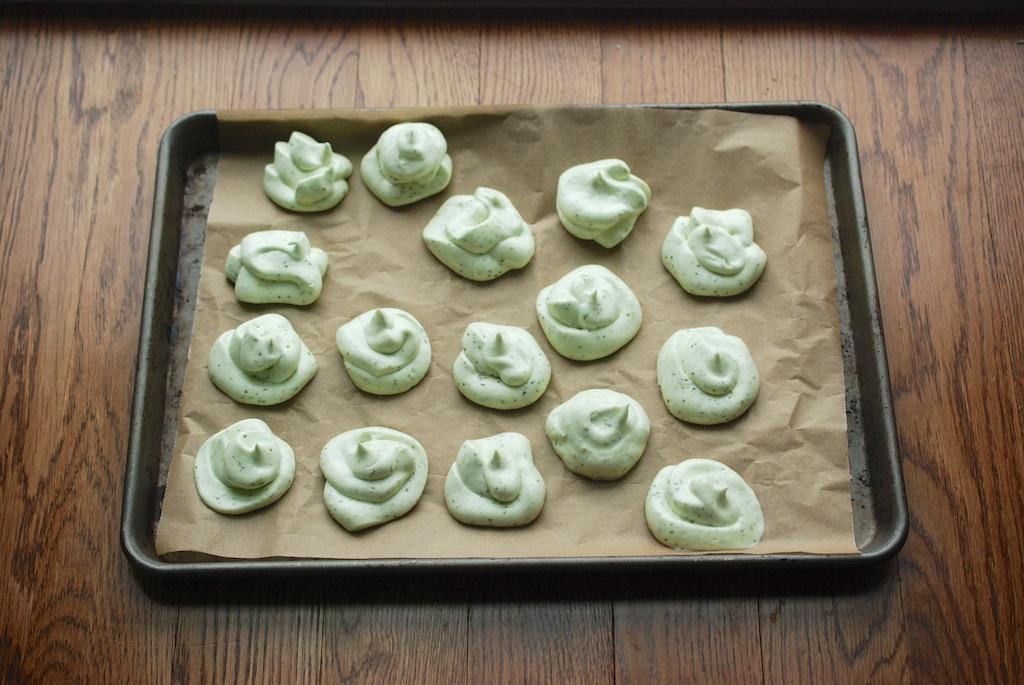 meringue on baking sheet