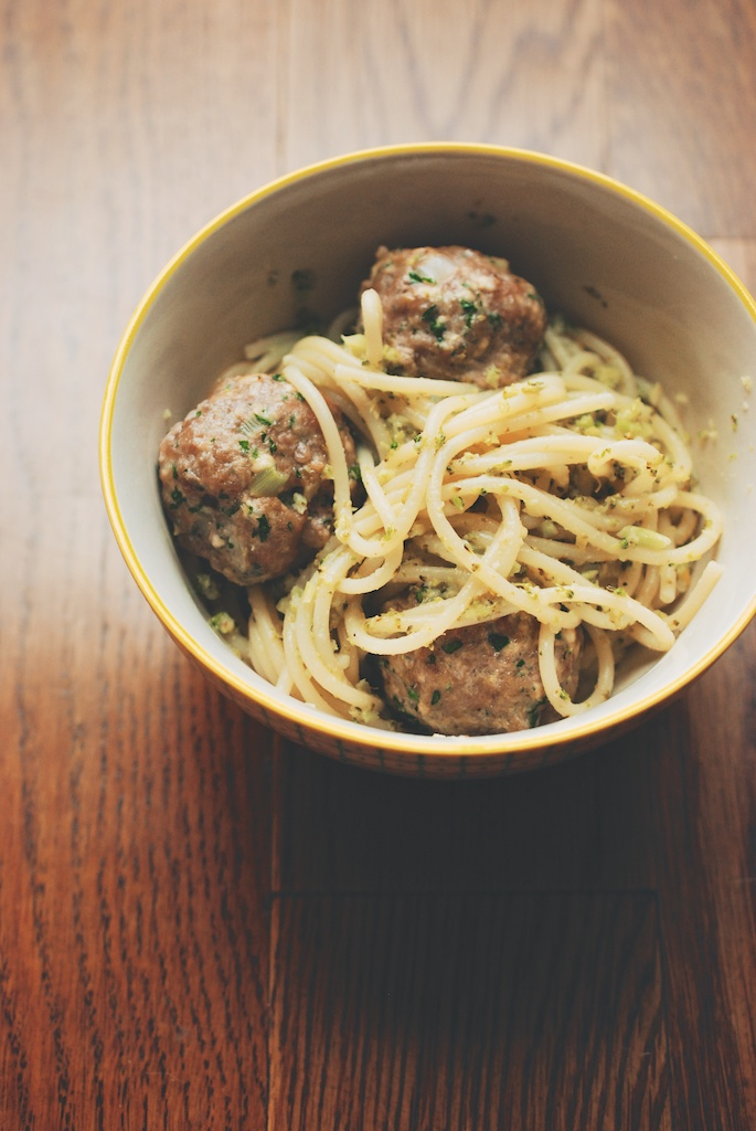 Roasted Broccoli Pesto Spaghetti with Veal-Ricotta Meatballs, vertical