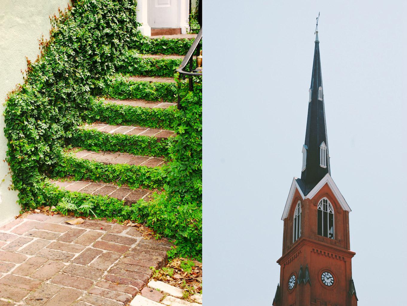 grassy steps/spire