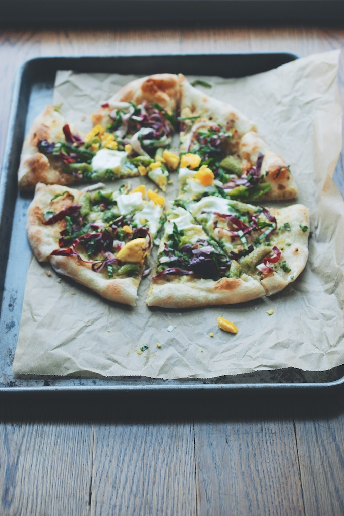Snap Pea and Radicchio-Basil Pizza, vertical