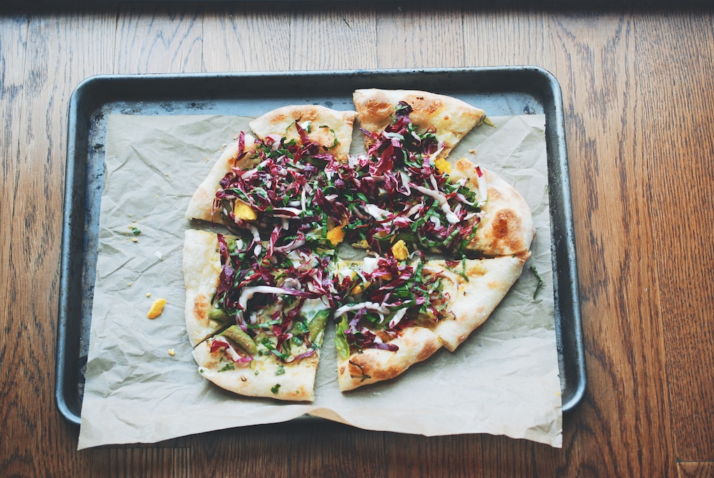 Snap Pea and Radicchio-Basil Pizza