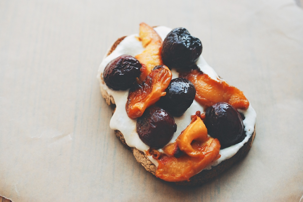 roasted cherry, peach, and whipped ricotta tartine