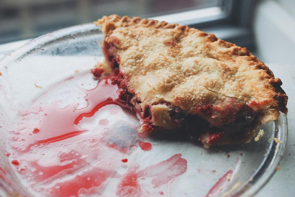 raspberry pie, half eaten