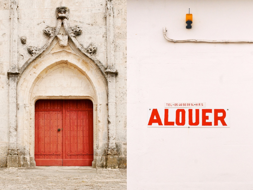 a vision in red: 1,000 year old church door, a garage for rent