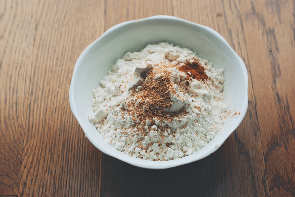 flour, nutmeg, cinnamon