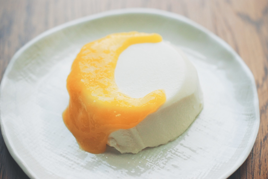 Coconut Panna Cotta with Mango Puree