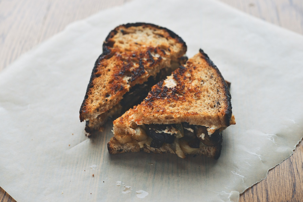 Roasted Mushroom Grilled Cheese with Cheddar + Chèvre