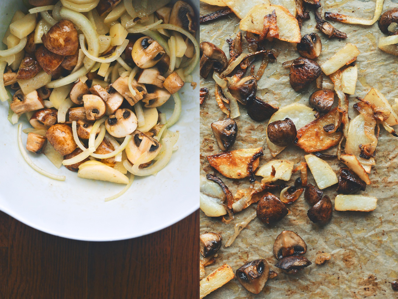 mushrooms, potatoes, and onions: pre and post roast