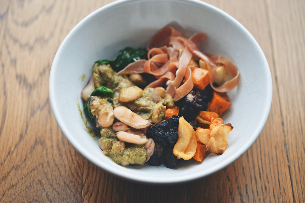 Soldier Bean + Fall Vegetable Bowl with Walnut Pesto