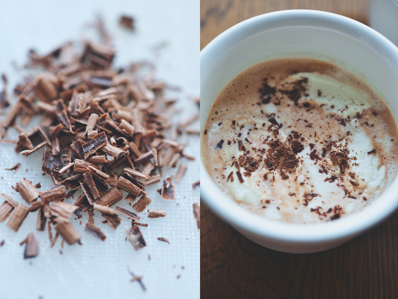 shaved chocolate and hot chocolate