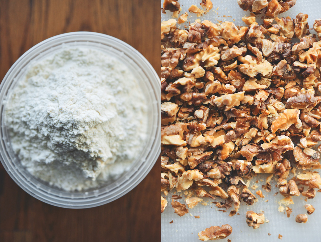 flour and toasted walnuts