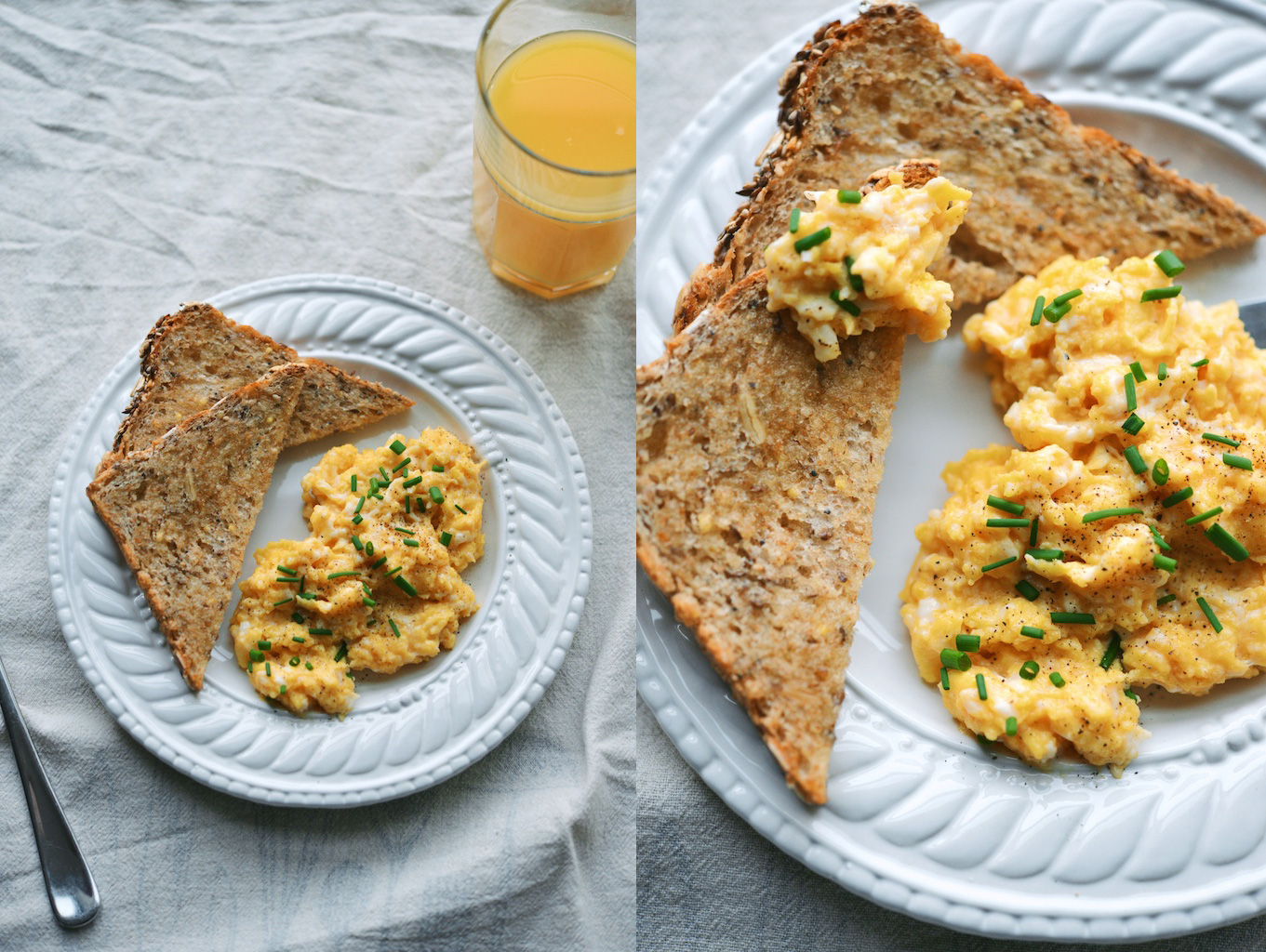 Softest, Slow-Cooked Scrambled Eggs with Toast