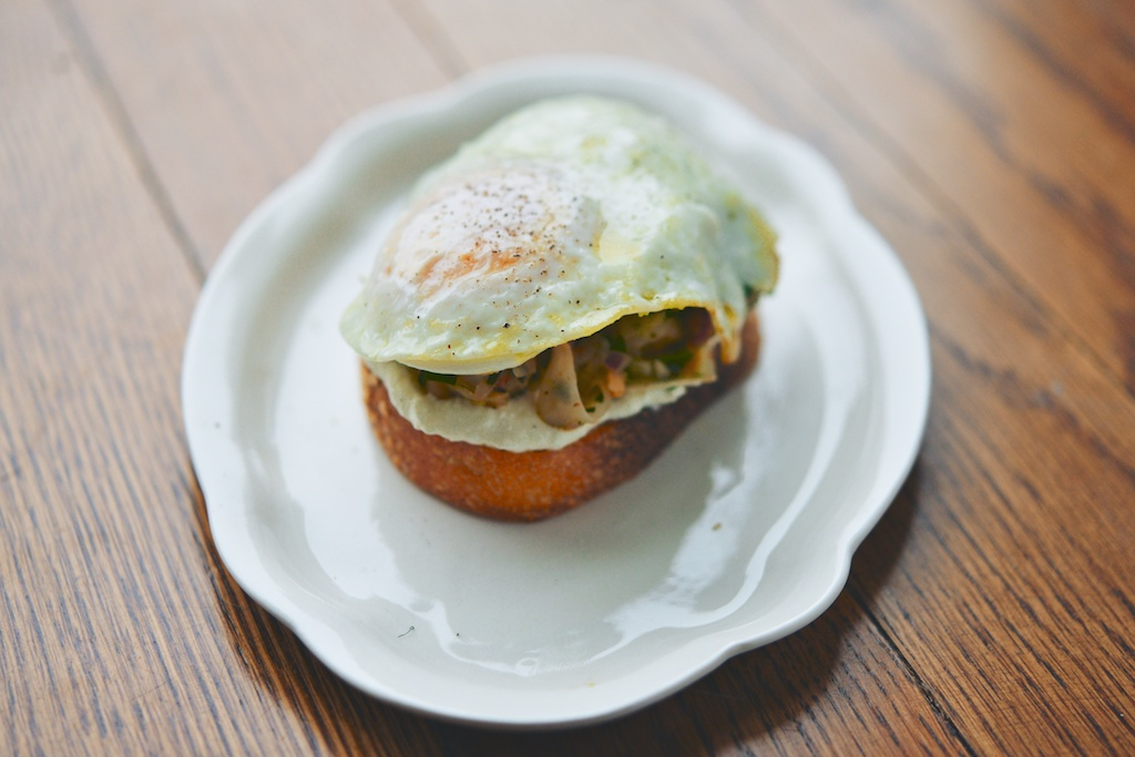 Marinated Fennel + Chickpea Salad Tartines with Whipped Feta with an egg