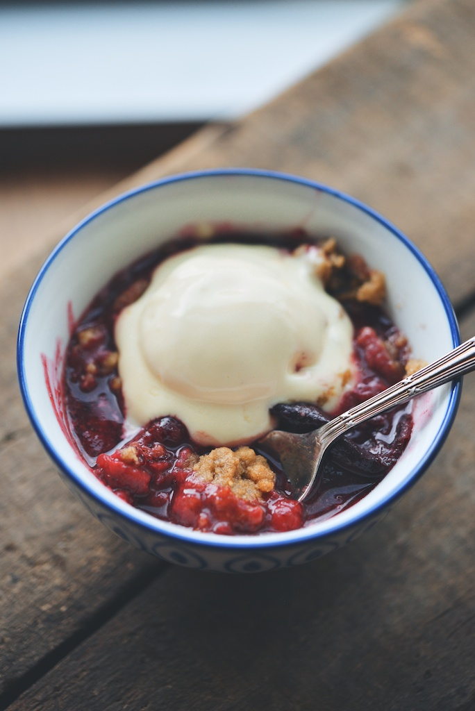 Raspberry + Italian Plum Walnut Crisp